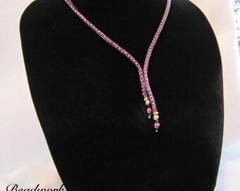 Wine Herringbone Necklace