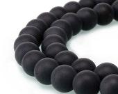 "Nice Matte Black Onyx Gemstone Loose Beads 4mm/6mm/8mm/10mm/12mm Approx 15.5"" Long per Strand. R-M-AGA-0004"
