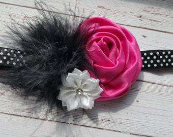 Satin Rose Feather Headband