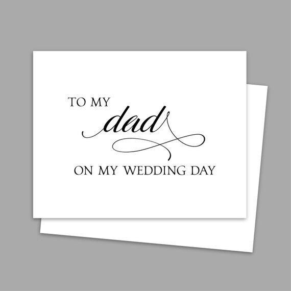 Gift For My Dad On My Wedding Day : To my Dad on my Wedding Day Card,Calligraphy Style Wedding Day Printed ...