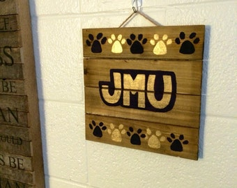 JMU wood sign