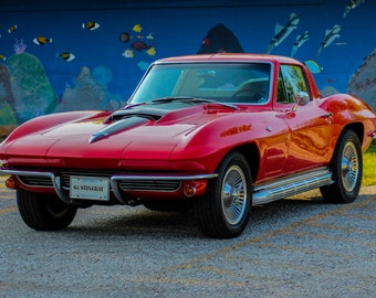 1964 Red Corvette Stingray, beautiful color poster or canvas print