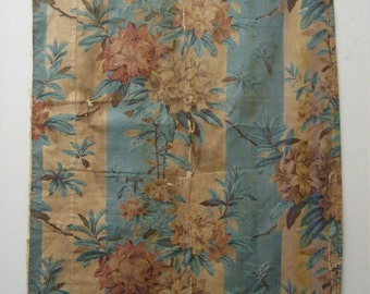 Beautiful Antique 19th C. French Floral Cotton Chintz Fabric (9435)