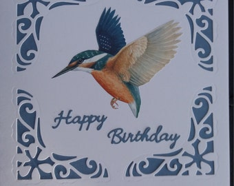 Kingfisher in Flight Decoupage Birthday card