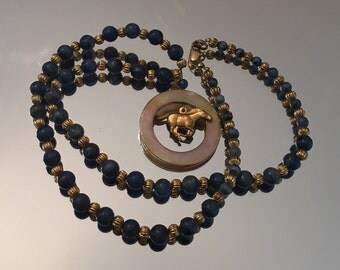 Beaded Lapis & Mother of Pearl Equestrian Necklace
