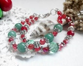 Woman's bracelet/Aventurine bracelets /Aventurine Jewelry/Women Bead Bracelet/Red green bracelet'
