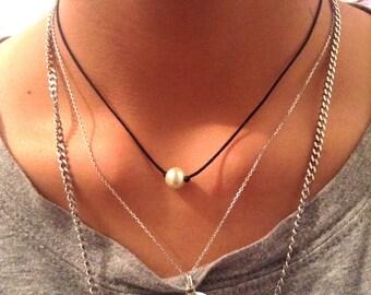 8mm Glass Pearl choker; Pearl Necklace, Single Pearl; Summer, Fashion, Black Nylon, Dainty, Simple Choker, Minimalist,