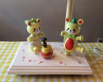 Vintage lamp nursery room Judi's original musical baby room table lighting 1980 bears and honey jar