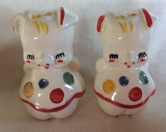Vintage American Bisque polka dot dancing Pig salt pepper shaker set