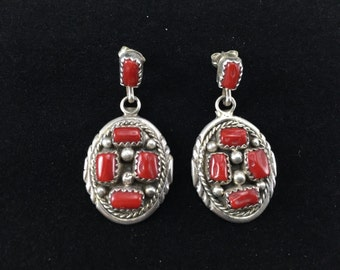 Coral Cluster Silver Earrings