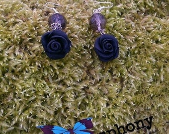 Black polymer clay rose earrings,dangle earrings,small rose earrings,flower earrings