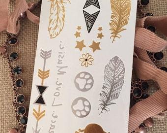 Tatouages Flash métalliques : Plume flèche patte étoiles fleur tête de mort Peace.Love.Music bijoux Body Art cadeau fête Music