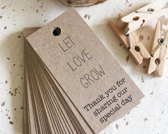 Let Love Grow Tags Pk20 - Rustic Kraft Brown Recycled Paper