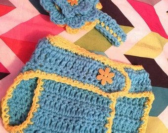 Crochet Baby Diaper Cover w/ Mtching Headband