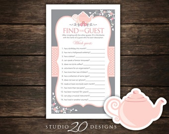 Instant Download Teapot Find the Guest Game, Grey Pink Teapot Bridal Shower Games, High Tea Shower Icebreaker, Engagement Party Game 26A