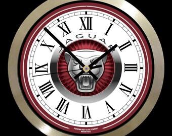 """Jaguar Modern 10"""" Wall clock, metal frame glass face"""
