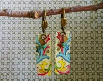 Vintage Tin Paisley Earrings