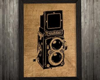 Burlap print Camera poster Retro print Vintage art BLP834