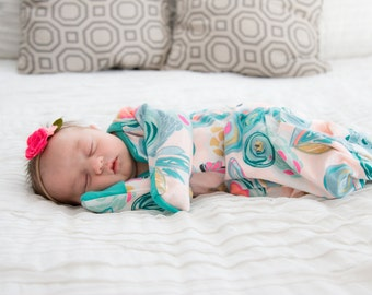 Sprayed Blooms Newborn Layette Gown