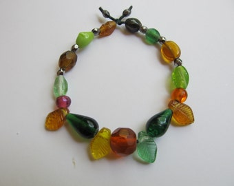 Beaded Bracelet with Oranges and Leaves Original Jewelry