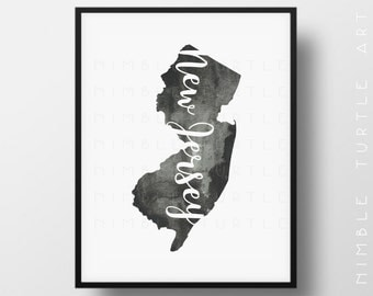 New Jersey State Outline Watercolor -  Printable New Jersey Wall Art  -  Comes with Blank State Outline SVG  -  Gallery Wall Art