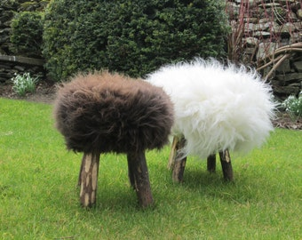 Rustic handmade genuine sheepskin stools