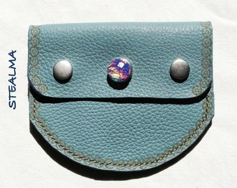 Pyrograve leather blue pouch