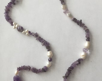 Beautiful Amethyst and Pearl Necklace with Pearl Clasp