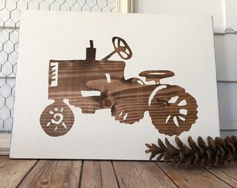 Tractor Wooden Sign Man Cave Boy's Room Nursery Art Home Decor Wall Hanging Father's Day Gift Wedding Gift Baby Gift