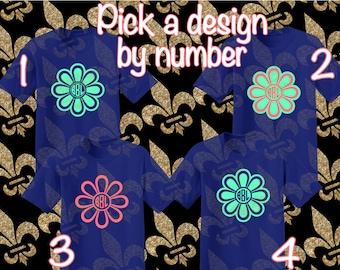 Flower Monogram Shirt Custom Shirt Custom Woman Shirt Custom Girl Shirt Flower Shirt Custom Vinyl Shirt Vinyl Shirt Monogram Shirt