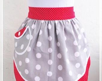 Retro half apron Red and gray aprons Polka-dots apron Womens aprons Vintage apron Pin up Apron