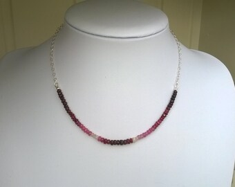 New - Ruby and sterling silver necklace with pearl extender drop