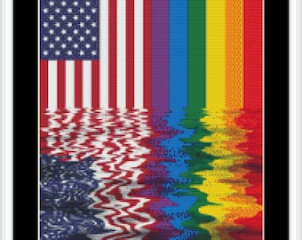 Two Points of Pride, Patriotic Gay American - Cross Stitch Pattern, Cross-stitch, crossstitch, xstitch,x-stitch, chart, Instant Download PDF