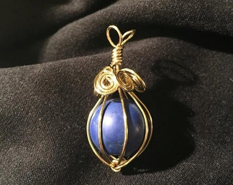 Blue In Gold Pendant