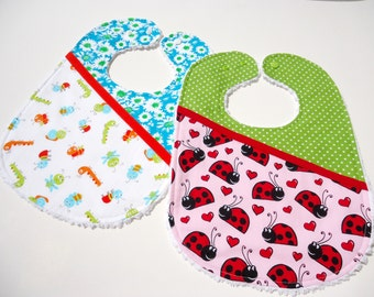 Chenille baby girl bibs-Baby bibs for girls-Ladybug girl bib-Caterpillar baby bib-Triple layer baby bibs-Baby feeding bibs