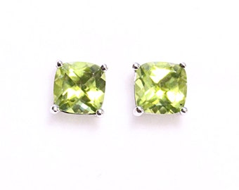 Sterling Silver AA Quality Peridot Cushion 6mm Stud Earrings, Natural Gemstone Studs Earrings, August birthstone earrings, Small Studs