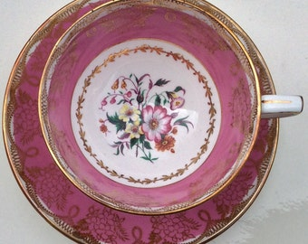 Pretty in Pink-Stunning Royal Stafford Pedestal Teacup and Saucer