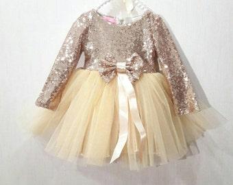 Gold sequin dress, party dress, sequin dress, girls party dress, birthday dress, birthday outfit, princess dress