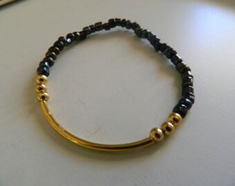 SALE! Glass Bead & Tube Bracelet