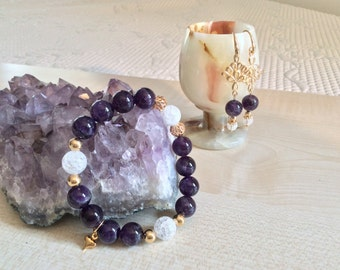 Bracelet and curly earrings with amethyst and rock crystal