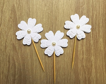 Set of 12 White Flower Cupcake toppers-  baby shower cupcake toppers -Bridal shower cupcake toppers