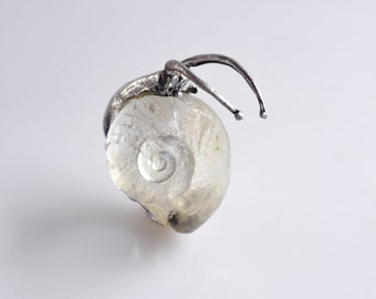 Ring - sculpture snail. Silver and resin.