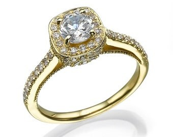 Studded real 14 k on all sides yellow gold engagement ring