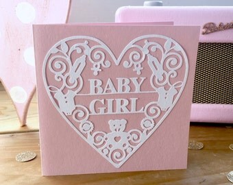 Baby Girl Handmade 135mm square papercut card with envelope