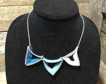 Triangle Zipper Necklace - teal ombré