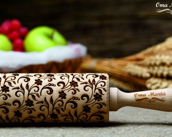 Flowers embossing Rolling Pin .Wooden engraved Rolling Pin.Wooden gift.Wedding gift. Flower Gift for Her.Birthday gift.Women gift.