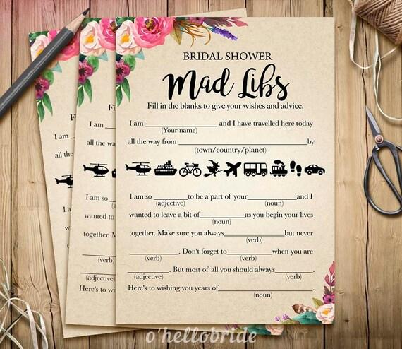 Wedding Vow Mad Libs Printable: Bohemian Bridal Shower Mad Libs Game Printable Boho Bridal