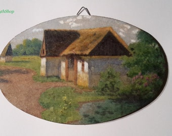 Picture with rural landscape made with decoupage