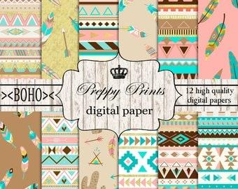 Boho Digital Paper Pack Printable Bohemian Scrapbook Papers Hippie Digital Collage Sheet Arrow Scrapbook Patterns Instant Download File