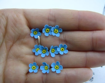 10 pcs.  blue Forget Me Not flowers, polymer clay flower bead, Blue Flower Beads 10 pieces